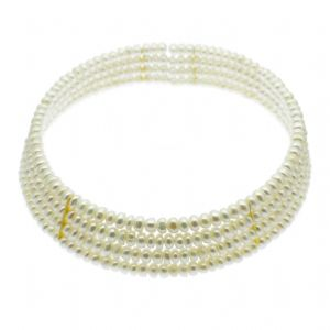 Pearl Choker Collar Four Strand Necklace White Cultured Pearls